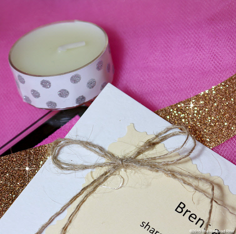 redhead riter tea light candle burlap bow