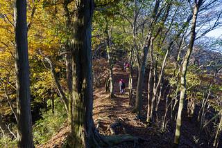 日のあたる二子山・雌岳への稜線