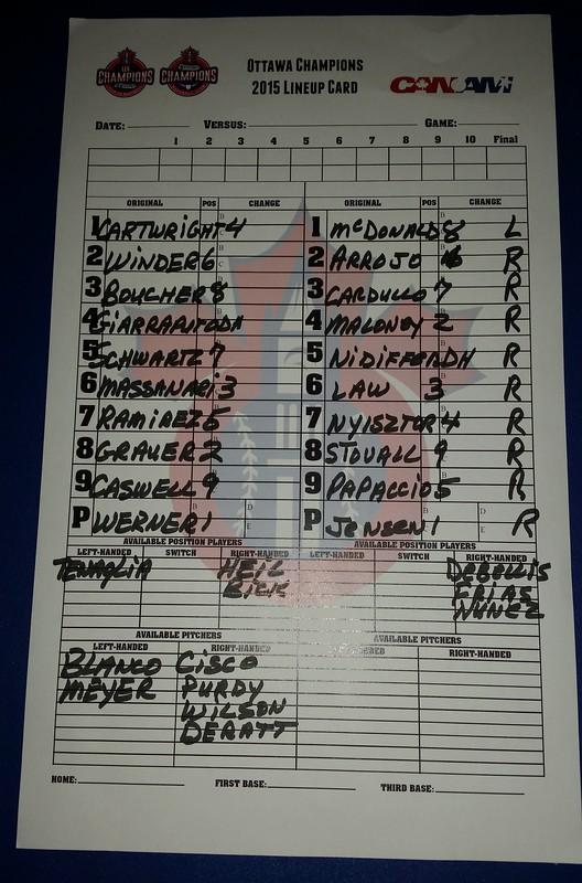Ottawa lineup card (9.1.15)