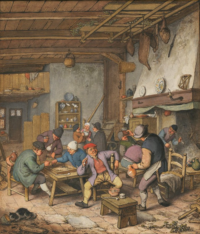 Adriaen van Ostade - Room in an Inn with Peasants Drinking, Smoking and Playing Backgam (1678)
