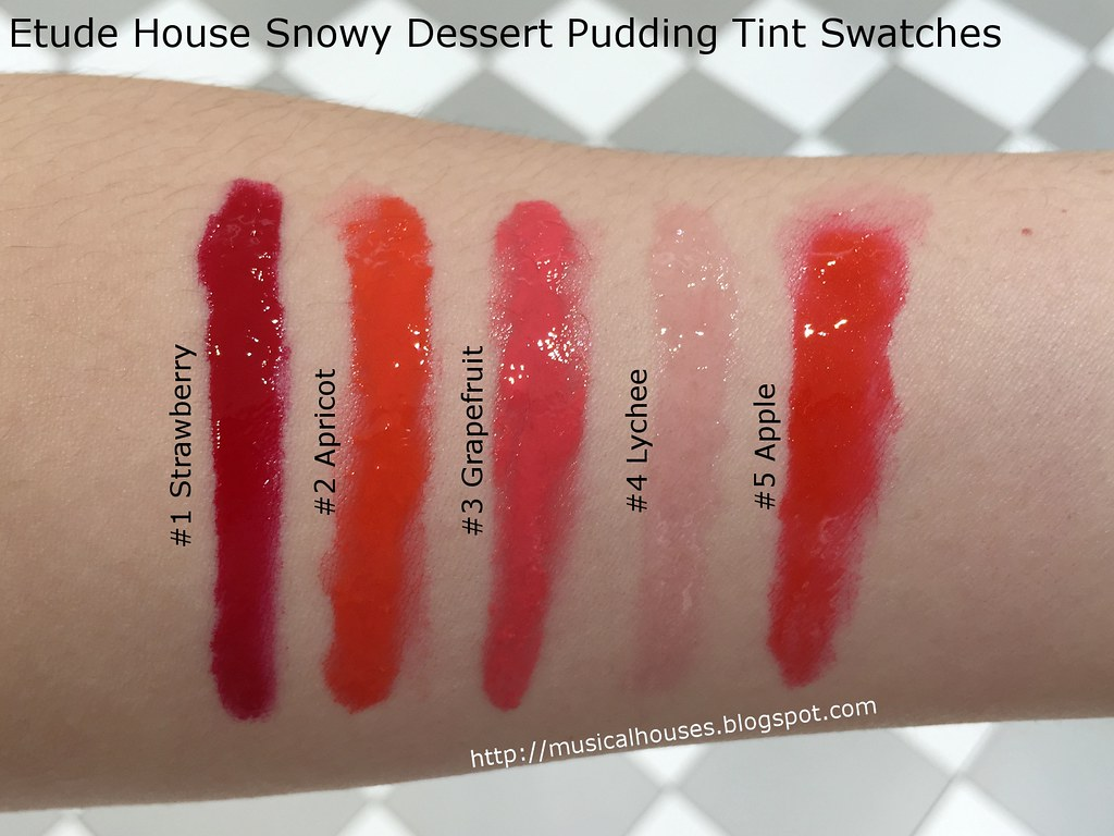 Etude House Snowy Dessert Pudding Tint Swatches