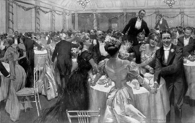 New Year's Eve at the Savoy Restaurant in the Savoy Hotel. Scene from The Illustrated London News, 1907.