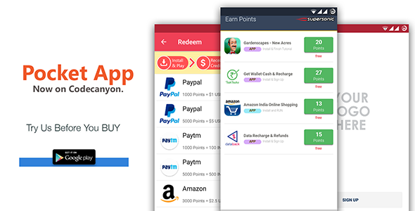 POCKET v1.3 – Android Rewards App