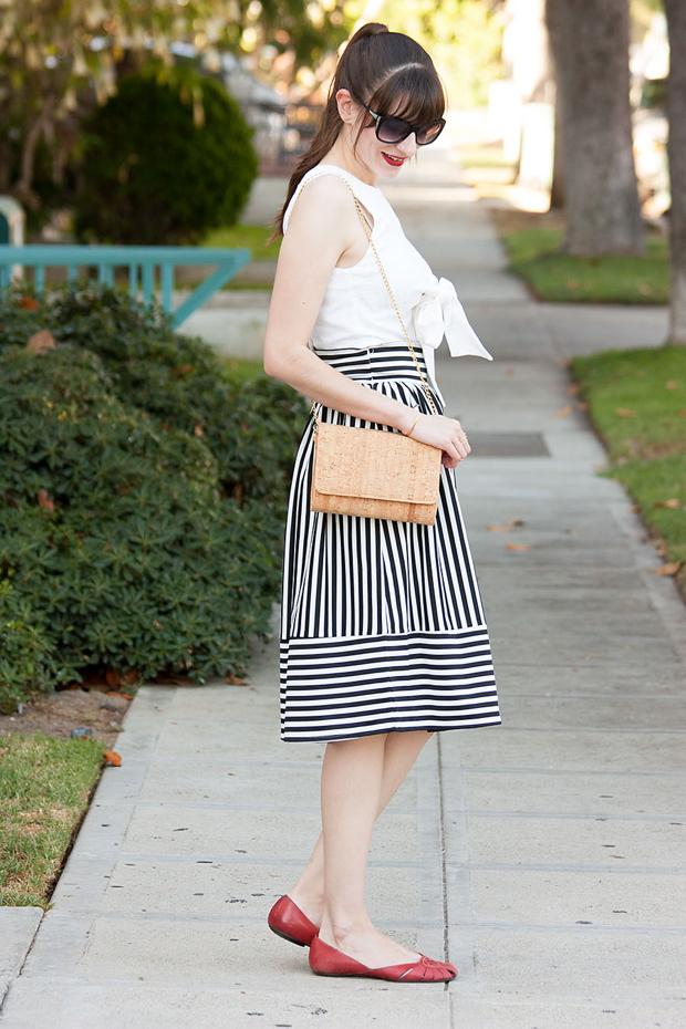 Striped Skirt, Midi Skirt, Lookbook Store, Cork Purse, Bow Crop Top, Red Flats