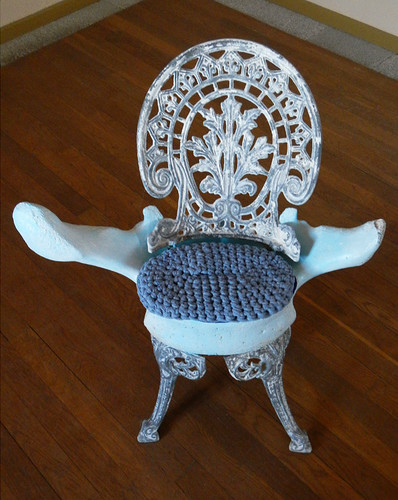A chair made of a whalebone in Fisterra, Spain