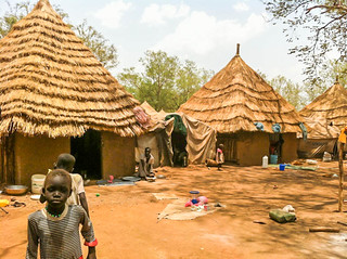 Kule refugee camp: Nyadiet's house is on the left where she lives with he four foster children