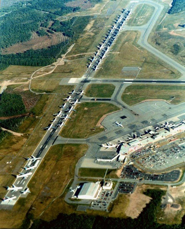 Grounded aircraft at Halifax Airport Nova Scotia awaiting orders before September 11 Attacks