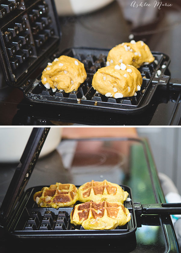 These cook just the same as traditional liege waffles, when the sugar melts it creates a crunchy, shiny finish with a perfectly soft inside
