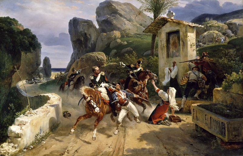 Horace Vernet - Italian Brigands Surprised by Papal Troops (1831)
