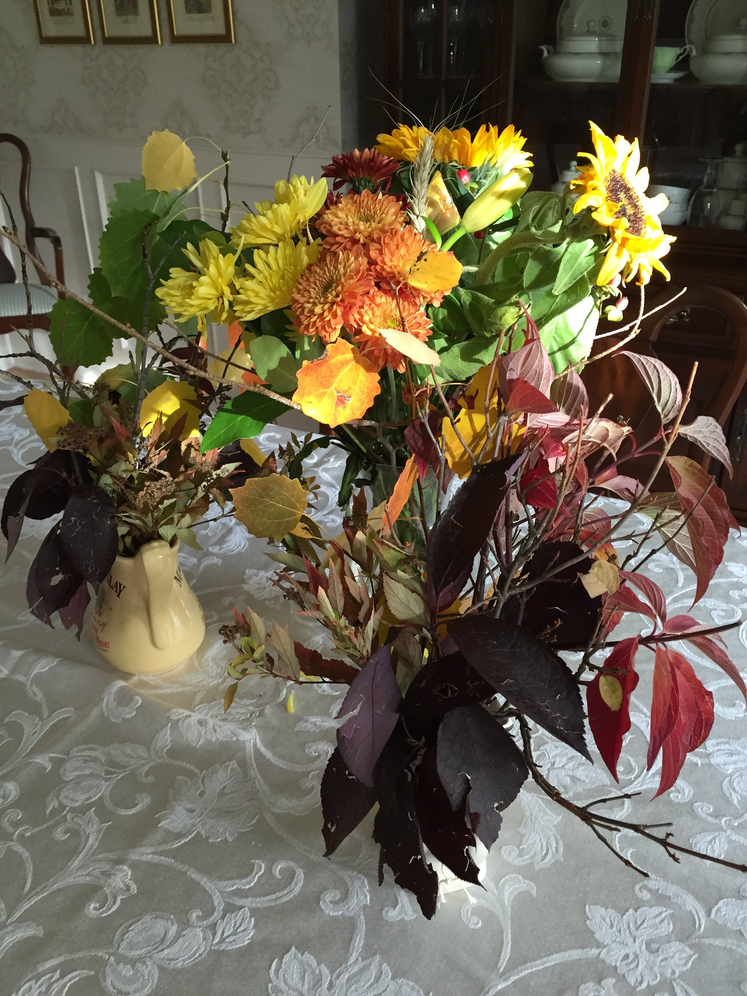 Autumn floral arrangement with added twigs and leaves
