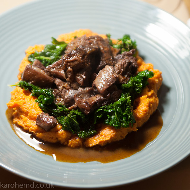 Braised lamb neck, sweet potato mash, curly kale