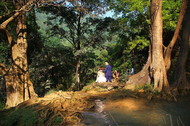 A local couple taking pre-wedding photos