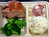 meatloaf, broccoli, mashed potatoes from Munchery