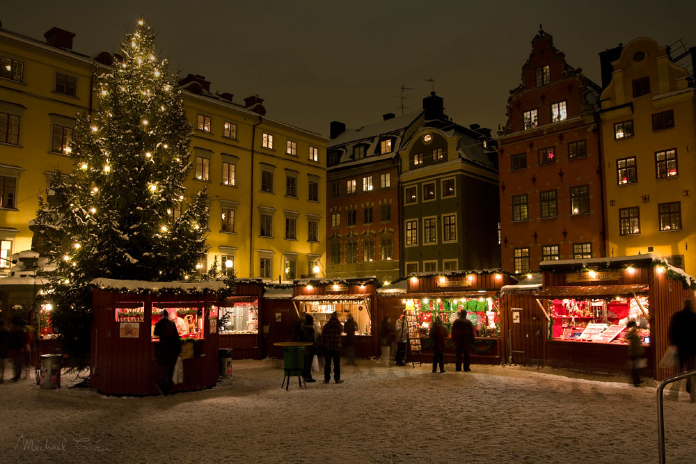 Christmas market in Stockholm Old Town, Sweden. Credit Michael Caven