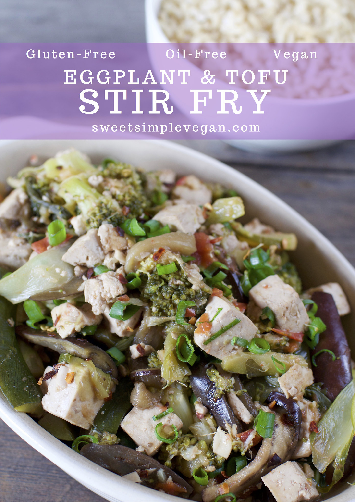 Eggplant & Tofu Stir Fry {Hclf Oil & Gluten-Free} sweetsimplevegan.com