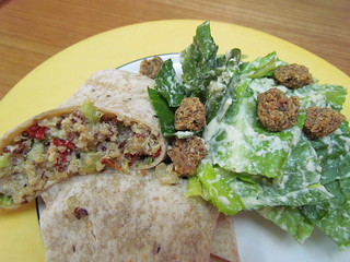 Broccoli & Cashew Cheese-Quinoa Burrito; Chakra Caesar Salad with Nutty Herb Croutons