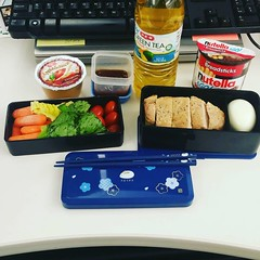 lunch today #badfoodphotography #omnomnom #bento #porkchopsandapplesauce