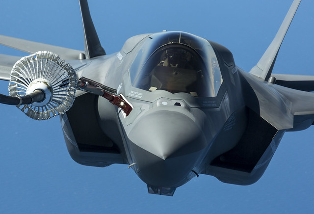 Pictured is the first of the UK's F-35B ''Lightnin'' jets to be flown to the UK. It is shown here being refueled during its during from the USA to Britain.