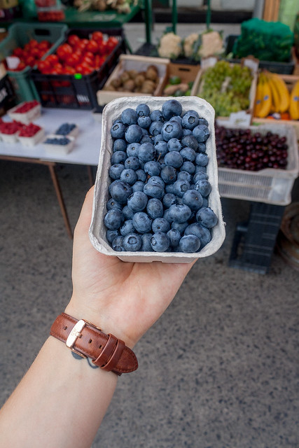 Fresh blueberries from a market in the Jewish quarter, Kraków