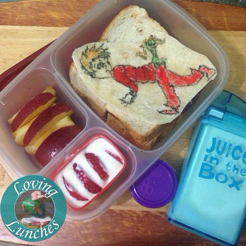 Loving #bookweek… Miss M has a Wocket in my Pocket inspired @easylunchboxes for tomorrow ❤️. Apple, strawberry, yoghurt, Nutella/cashew dip and milk in her #juiceinthebox #drseuss #schoollunch #bookweek2015