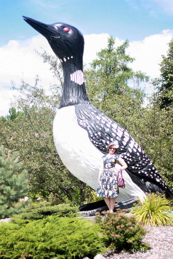 Photo op with the giant fiberglass loon in Mercer, Wisconsin