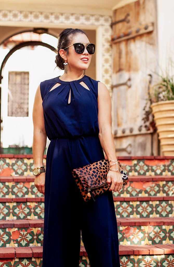 cute & little blog | petite fashion | forever 21 navy cutout midi jumpsuit, lace up flats, clare v leopard clutch, prada sunglasses | summer fall outfit