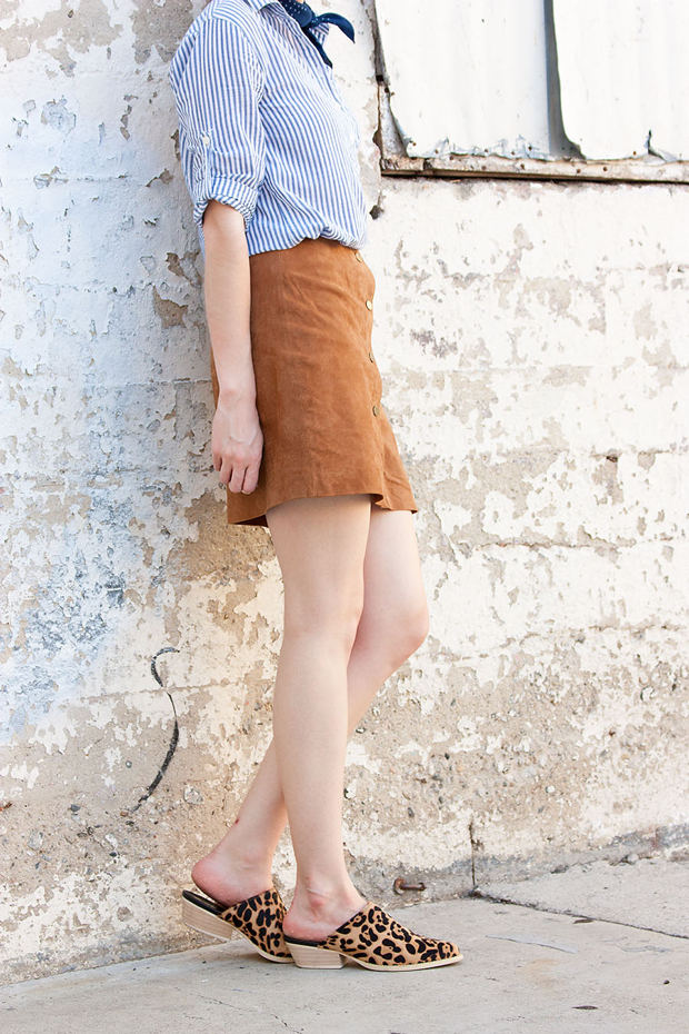Marias Cowboy Mules, Leopard Mules, 70's Style, Suede Skirt