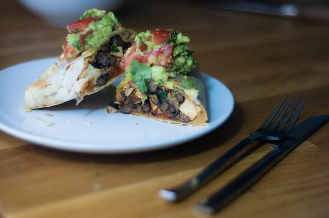 tofu and black bean burritos with guacamole