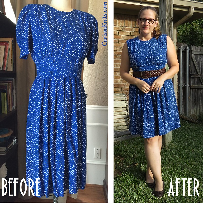 Blue Polka Dot Dress - Before & After