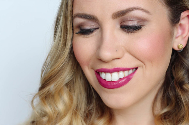 Fuschia Lipstick Brown Smoky Eye Makeup (4 of 5).jpg