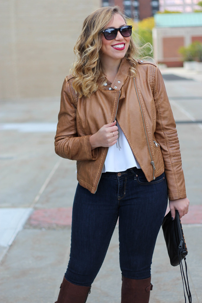 Fall Neutrals | Brown Faux Leather Jacket | Brown Boots