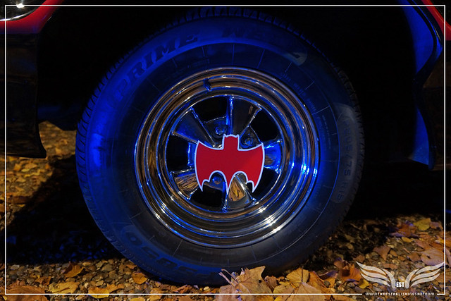 The Establishing Shot: CHARACTER CARS 1966 BATMOBILE (WHEEL DETAIL) AT THE ROGUES GALLERY - CREATION OF A SUPER-VILLAIN BOOK LAUNCH @ THE CRYPT GALLERY, LONDON - OCT 2015