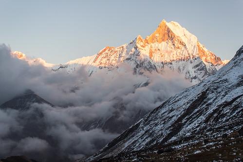 nepal sunset camp fog clouds trek base annapurna himalayas 2012 basecamp annapurnabasecamp