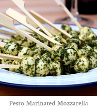 Pesto Marinated Mini Mozzarella Balls