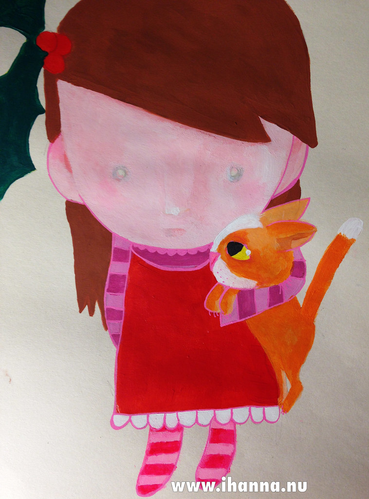 Christmas painting: Santa Crazy Cat Girl painted by iHanna