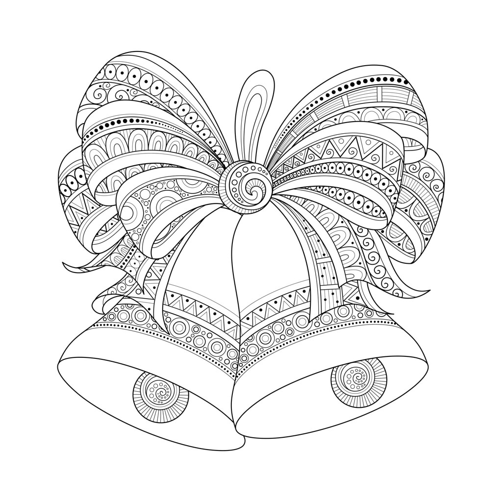 Winter Time Christmas Coloring Pages Pencil Hand Drawn