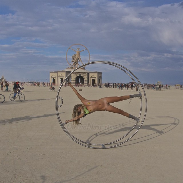 naturist gymnastics wheel camp Gymnasium 0003 Burning Man, Black Rock City, NV, USA