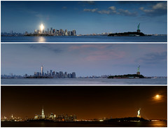 Manhattan, Statue of Liberty, and Super Moon from Liberty State Park, Triptych
