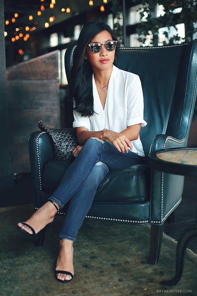 topshop drape blouse ripped jeans