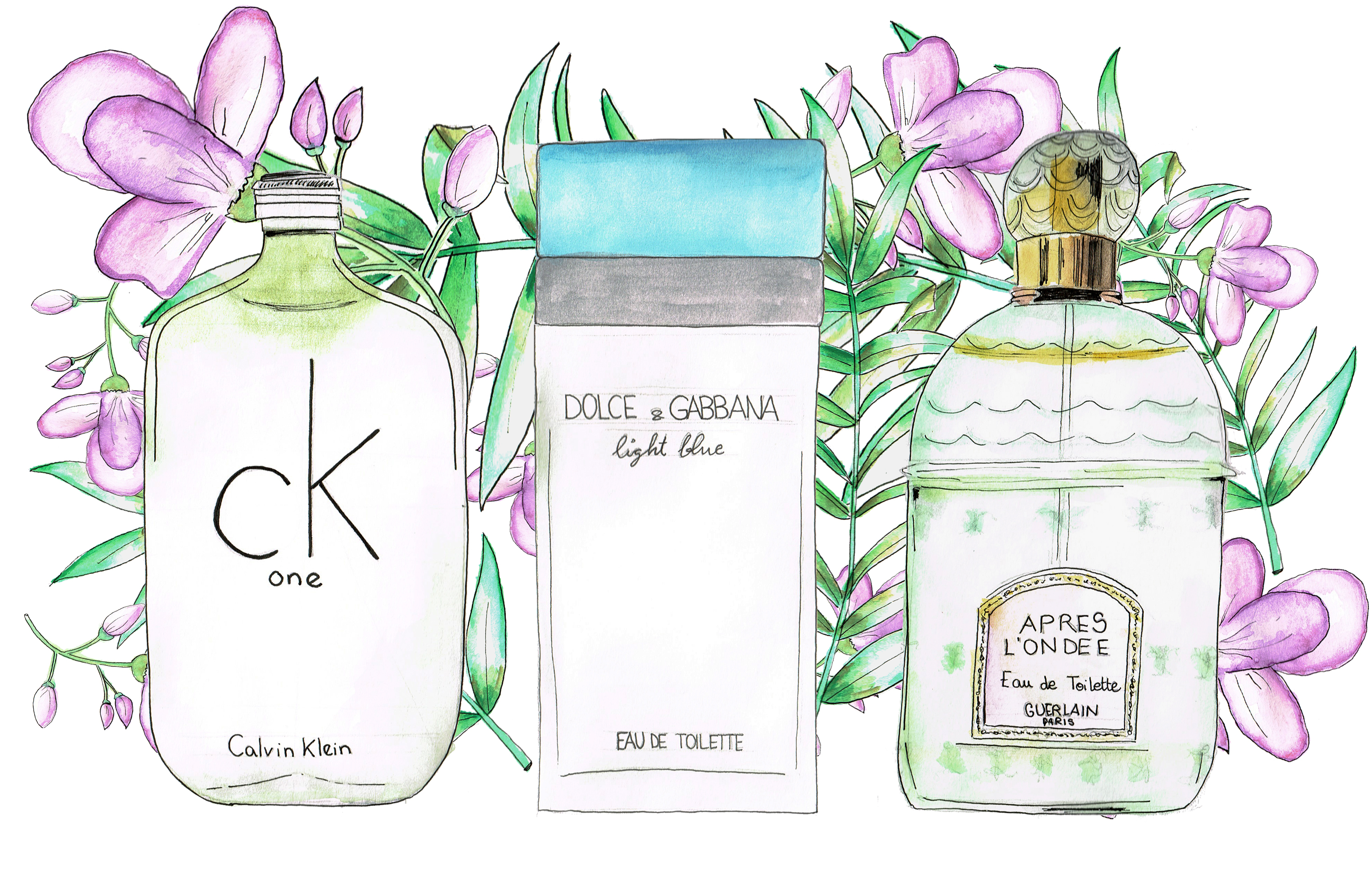 fashion illustration accessories perfumes iconic 10 famous essences watercolor, valencia fashion blogger somethingfashion, fashionillustration handmade buy prints, shalimar guerlain dolce gabbana chanel n5