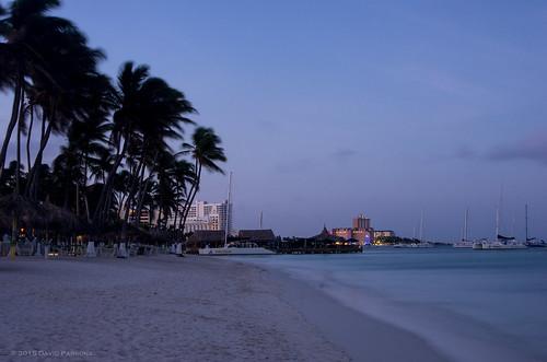ocean sky water sunrise places aruba holidayinn caribbean palmbeach partlycloudy caribbeansea smcpda1645mmf40edal pentaxk5