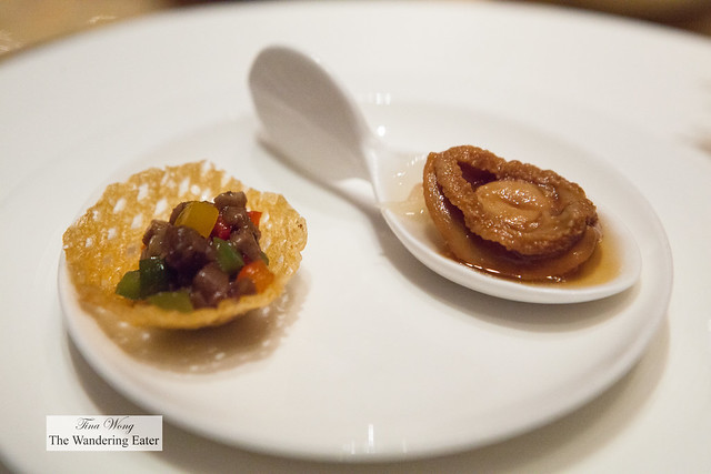 Amuse bouche - Dried braised abalone and a stir fried minced beef in a chip bowl