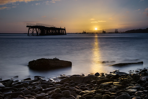 longexposure seascape water sunshine sunrise canon river scotland pier seaside rocks waterfront fife redsky goldenhour riverforth waterscape 24105 inverkeithing fifecoastalpath fifecoast carlingnosepoint grantmorris carlingnosepier grantmorrisphotography industrialdesolation