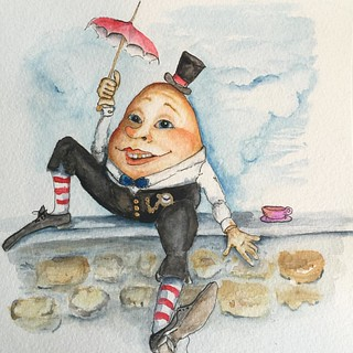 #humptydumpty was a smart #egg, a tad bit clumsy, but a good hearted and jovial one. That's why it was so important for him to get put back together after the great fall. #childrensbook #childstorybook #childhoodmemories #illustration #artwork #watercolor