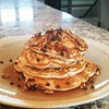 A Sunday treat: chocolate chip and pecan pancakes. Soooo good. #putmyfaceinit