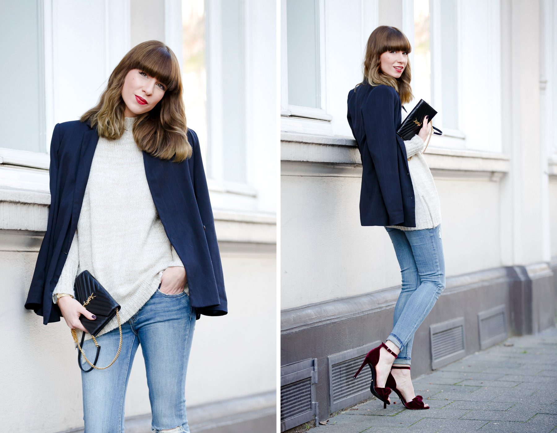 outfit office christmas party casual and velvet red ruby high heels topshop love cute blazer ysl saint laurent paris monogram bag rosefield watch ricarda schernus cats & dogs fashionblogger ootd outfitblogger blue jeans styleblogger dusseldorf nrw  1