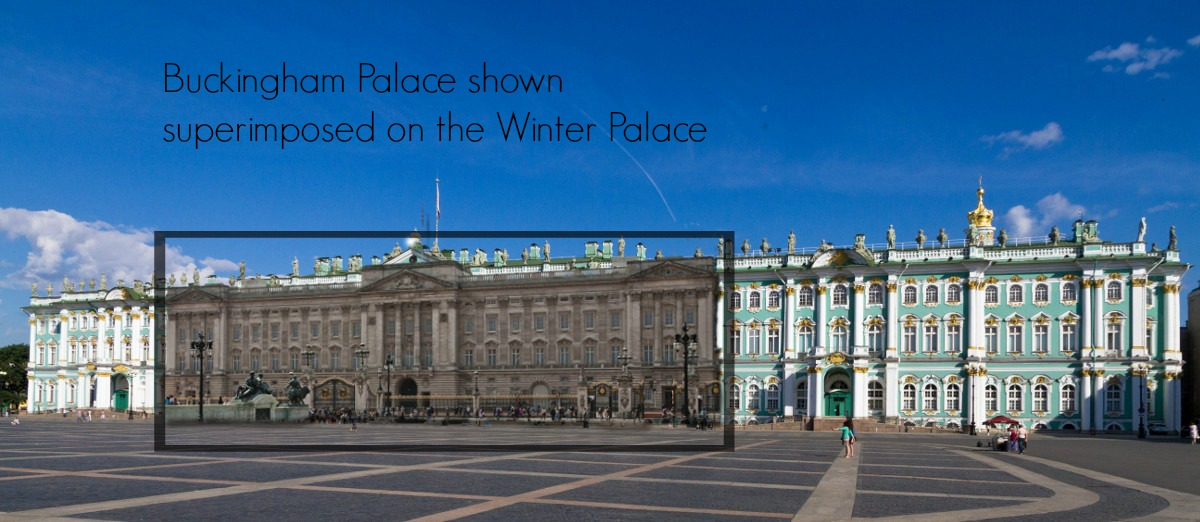Buckingham Palace superimposed onto the Winter Palace