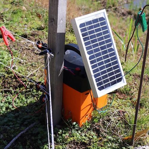 こちらが電気柵の電源バッテリー。太陽光発電も組み合わせつつ。 #なんと #南砺 #富山県