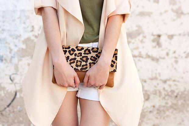 Lookbook Store, Peach Jacket, Leopard Clutch, Army Green Tee, White Shorts