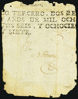 1813 Puerto Rico 8 Reales note back